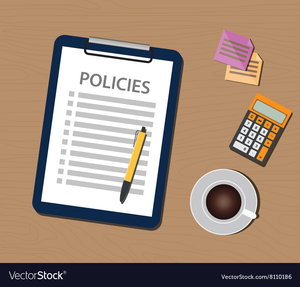 Policies policy concept with clipboard document