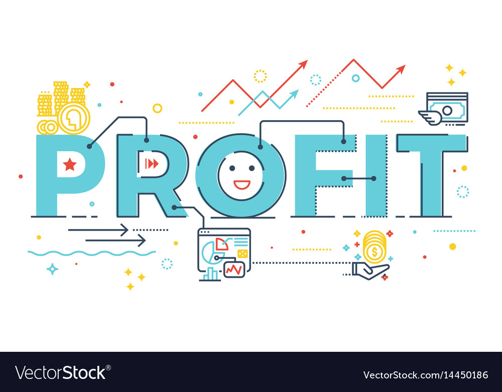 Profit word lettering vector image