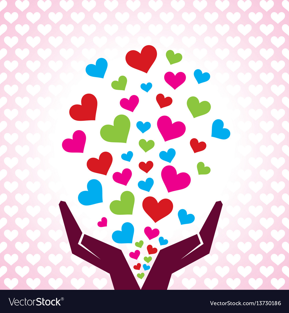 Valentine day greeting with hand emitting hearts vector image