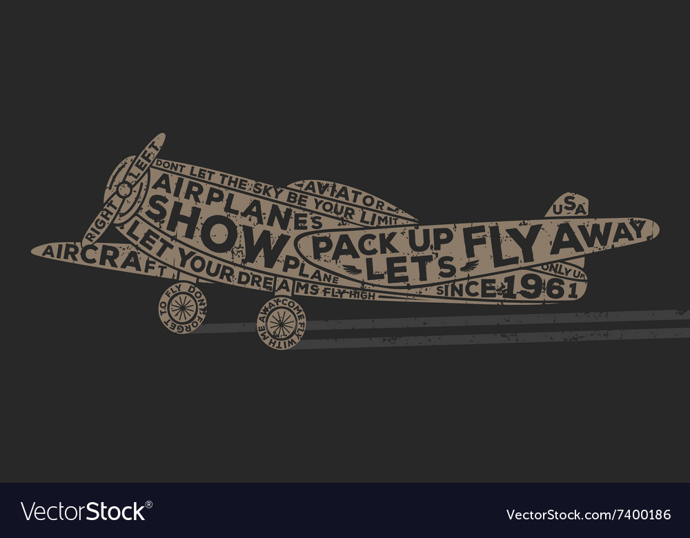 Vintage style plane with calligraphy Vintage tee