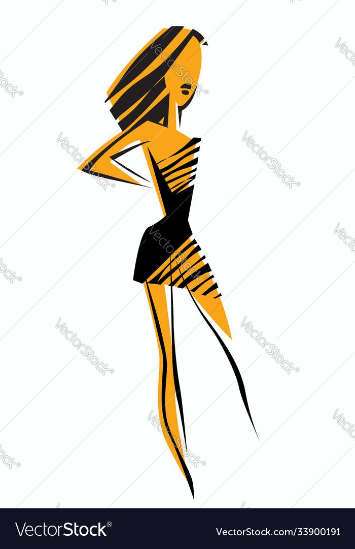 A beautiful girl in a little black dress