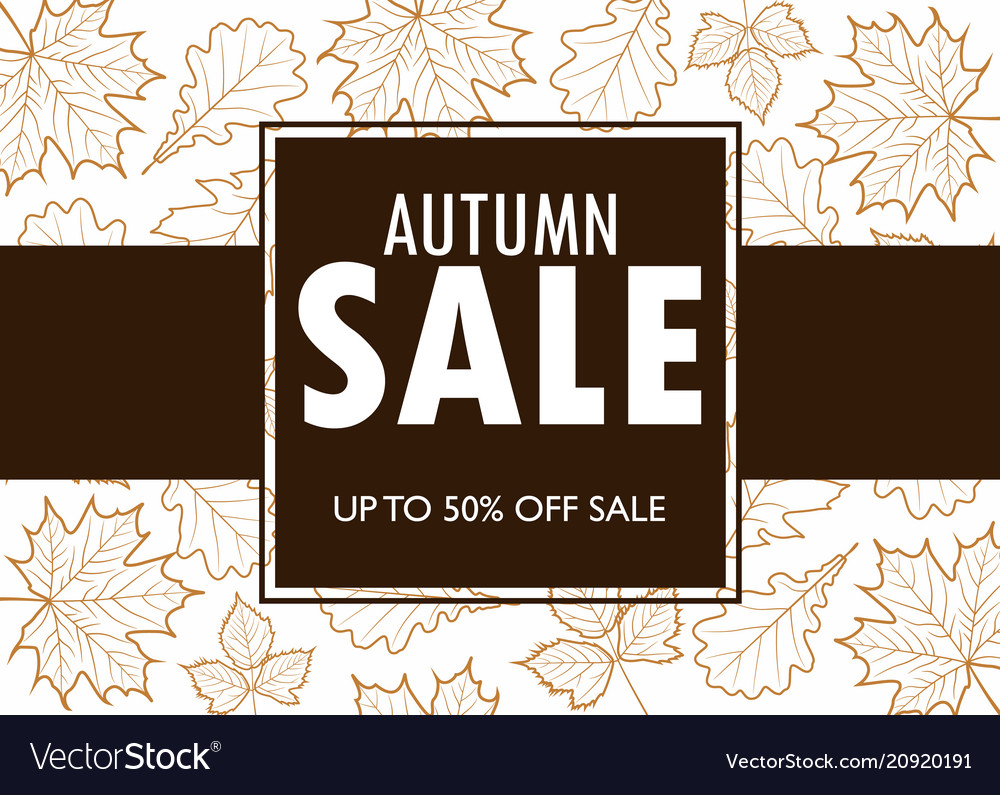 Autumn sale banner template with outline leaves
