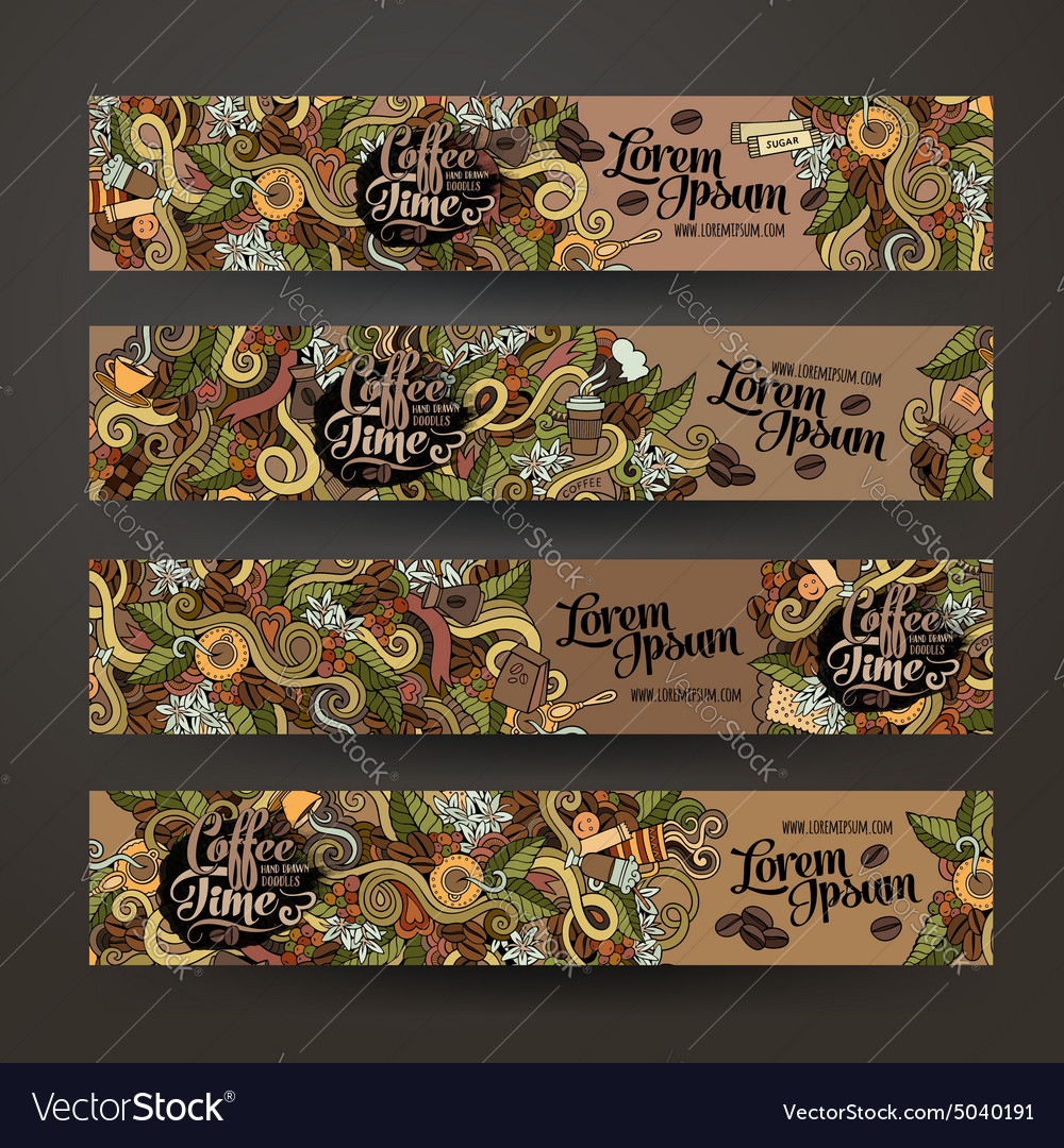 Banner templates doodles coffee theme