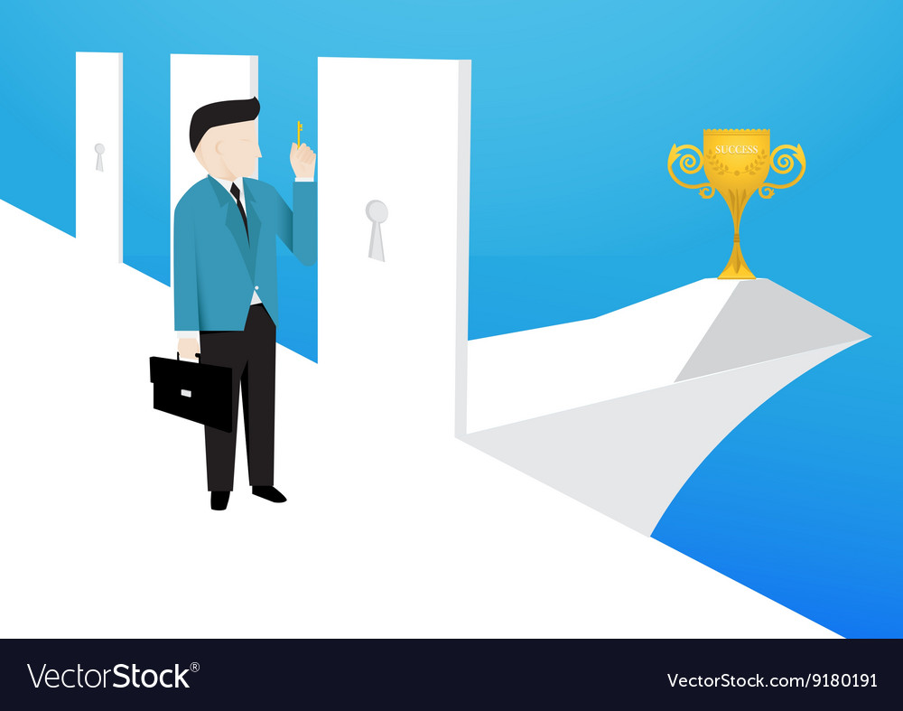 Businessman is choose a right doors to enter it