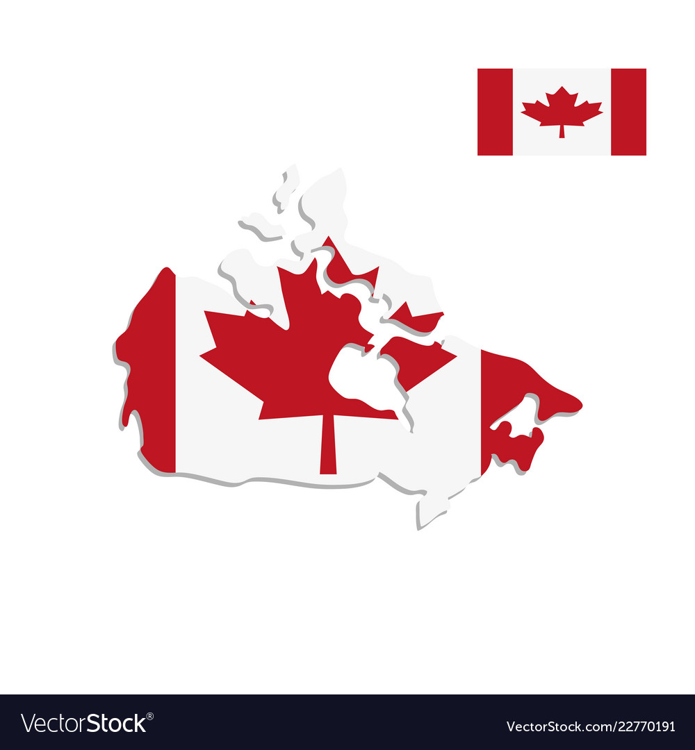 Canada Map Flag.Canada Map And Flag On A White Background Vector Image