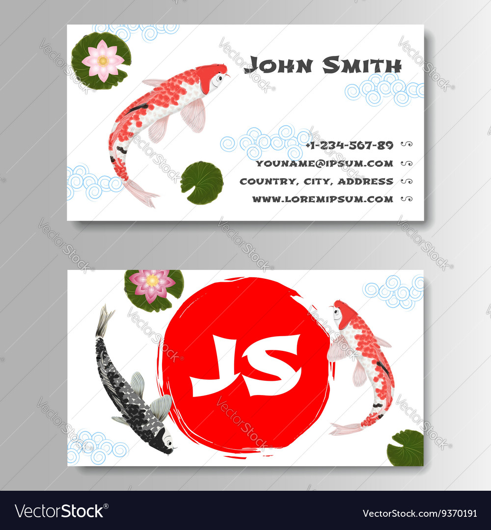 Carp koi asian style template business card vector image colourmoves