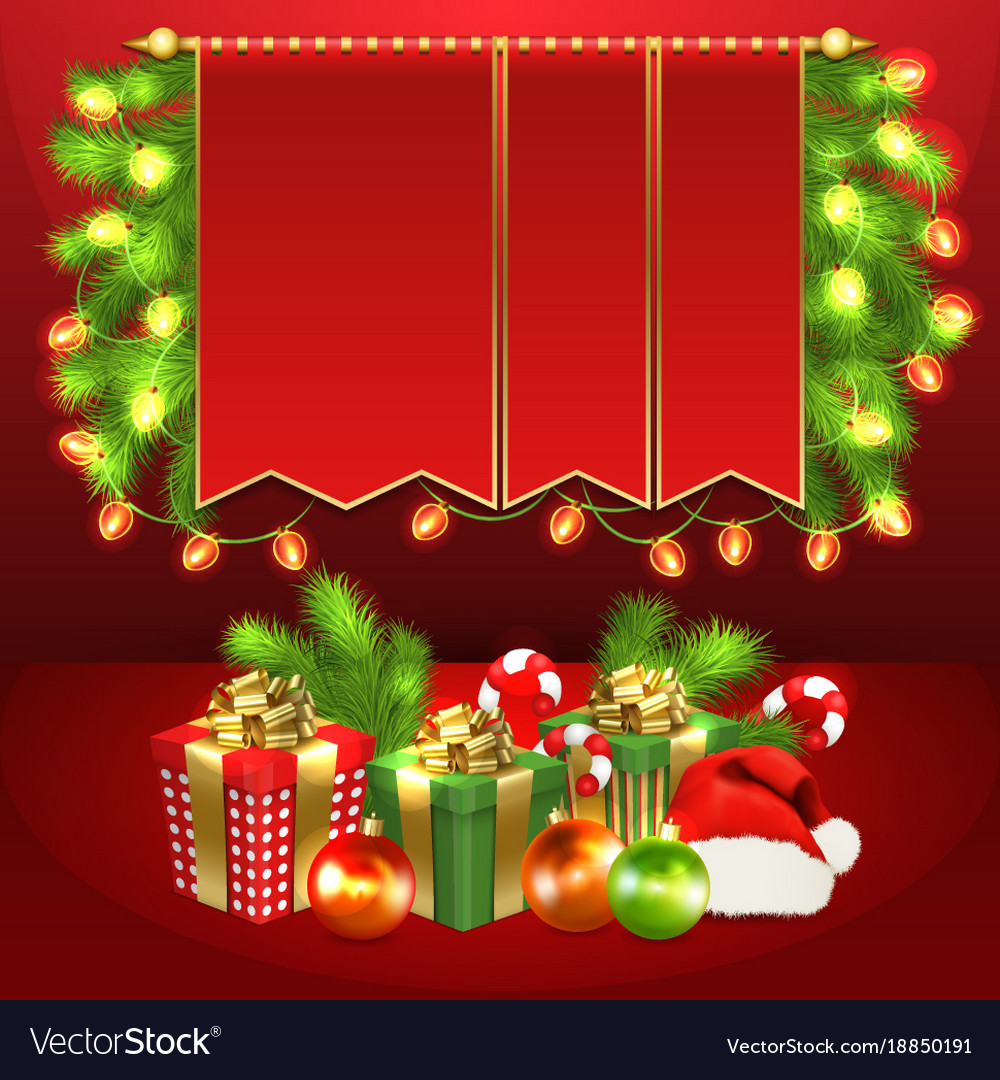 Christmas Tree Gift Boxes Ball Candy Garland Vector Image