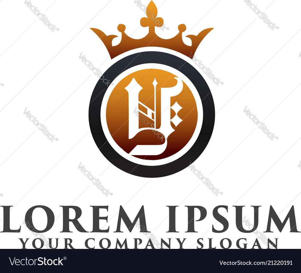 Luxury letter y with crown logo design concept