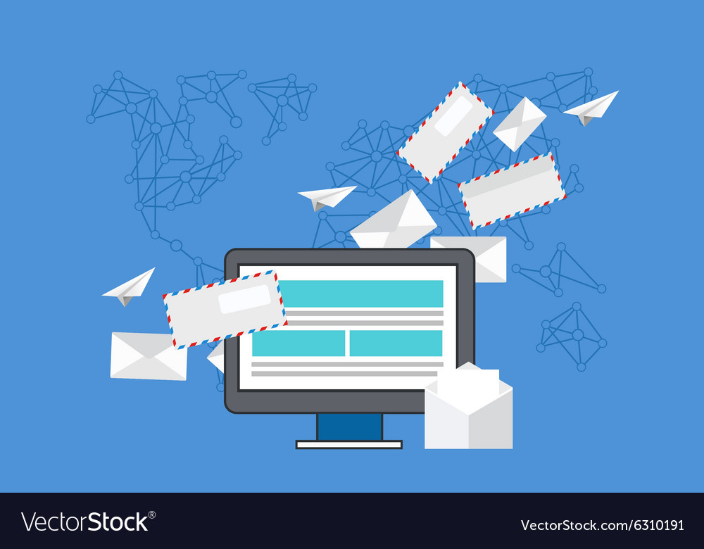 Modern flat design of email marketing