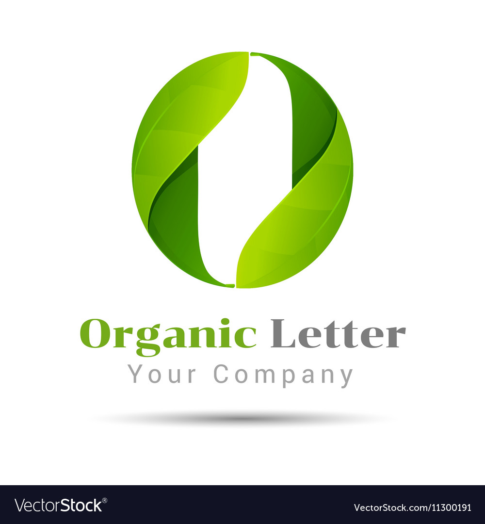 O letter green eco logo volume icon design vector image
