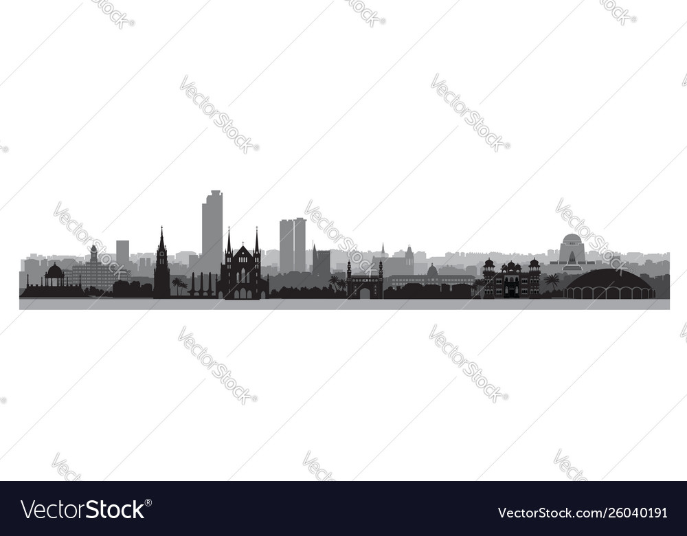 Pakistan city karachi skyline view with famous