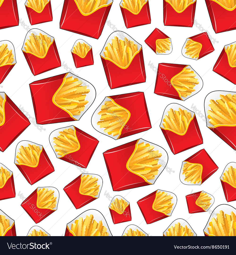 Seamless takeaway boxes of french fries pattern