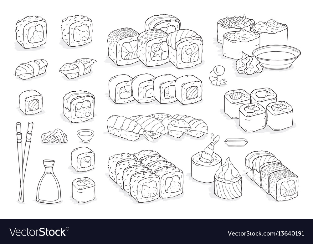 Set of sushi rolls wasabi soy sauce ginger vector image