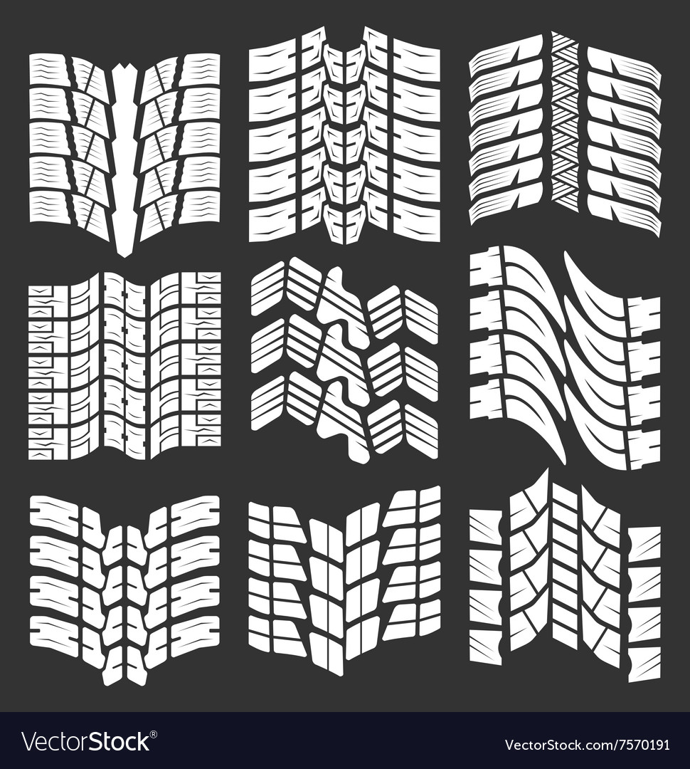 Set of tire tracks vector image