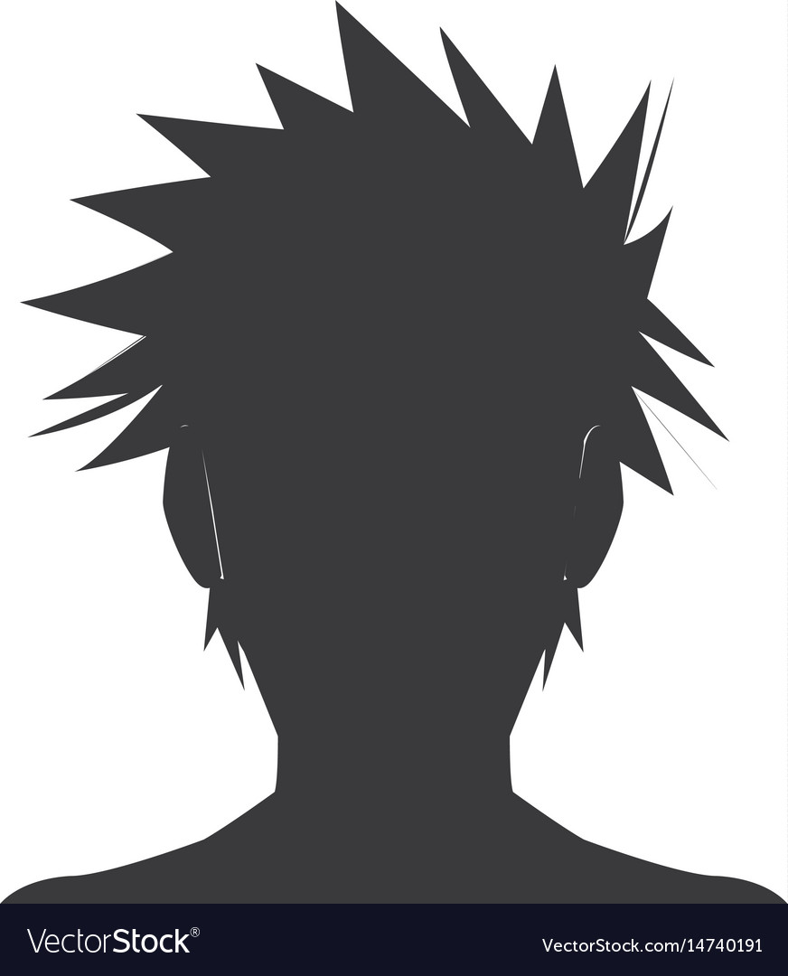 Silhouette head boy anime avatar image vector image