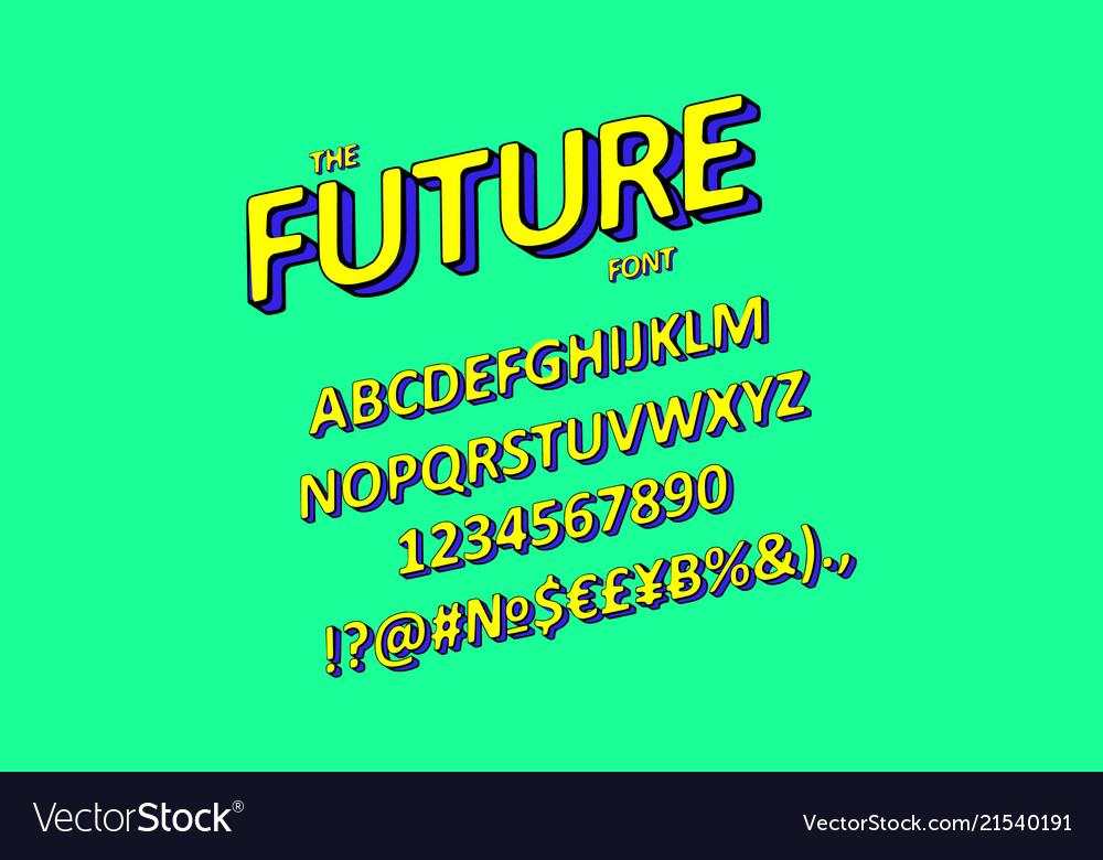 Slanted 3d sans serif font