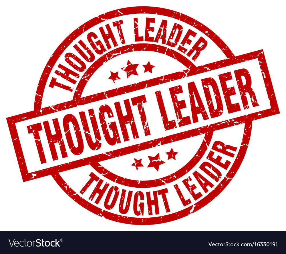 Thought leader round red grunge stamp