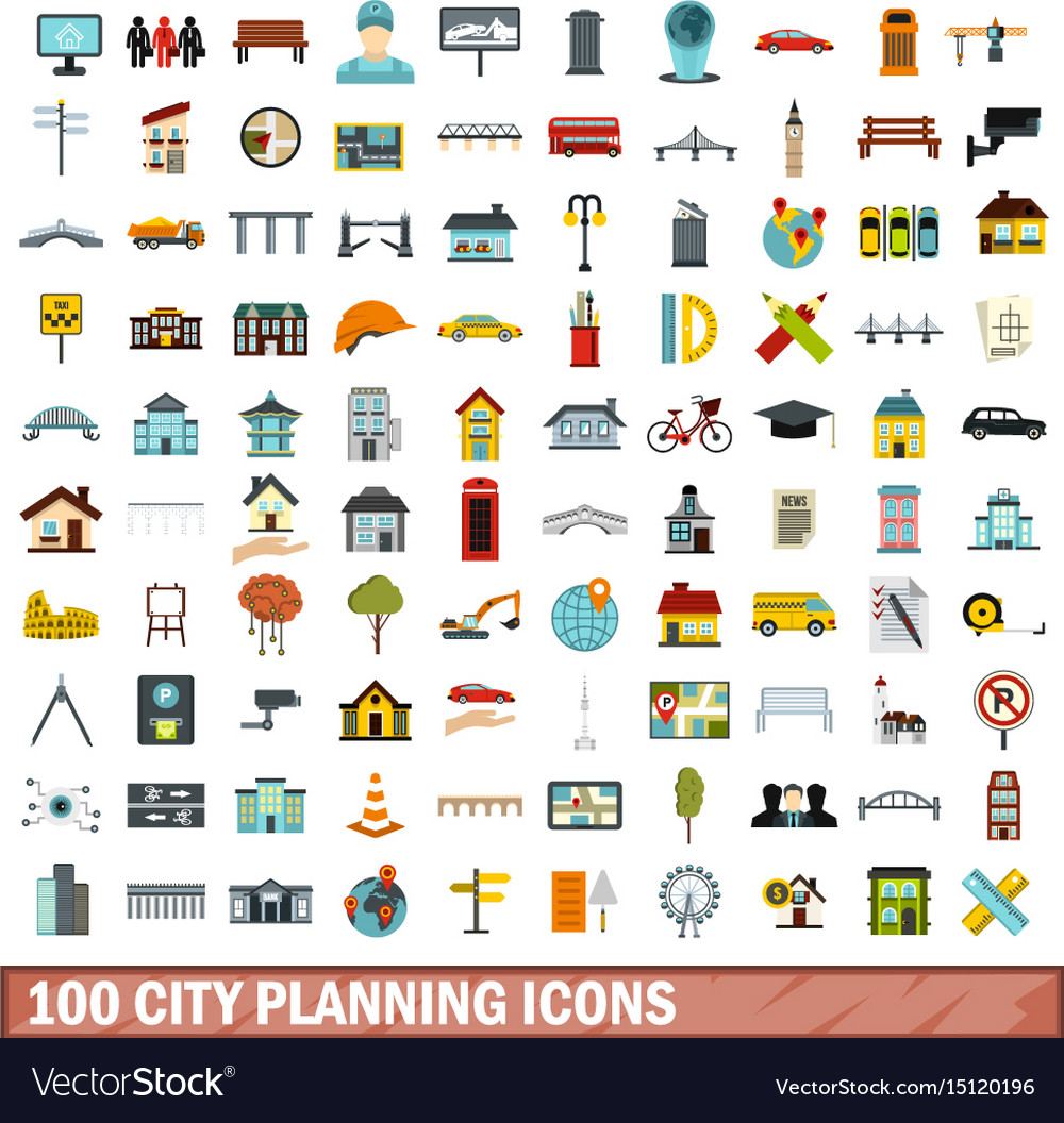 100 city planning icons set flat style