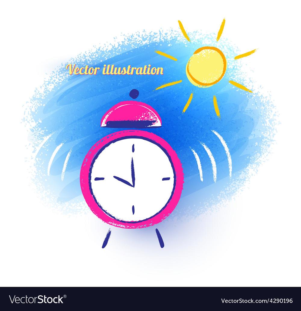 Alarm Clock And Morning Sun Royalty Free Vector Image