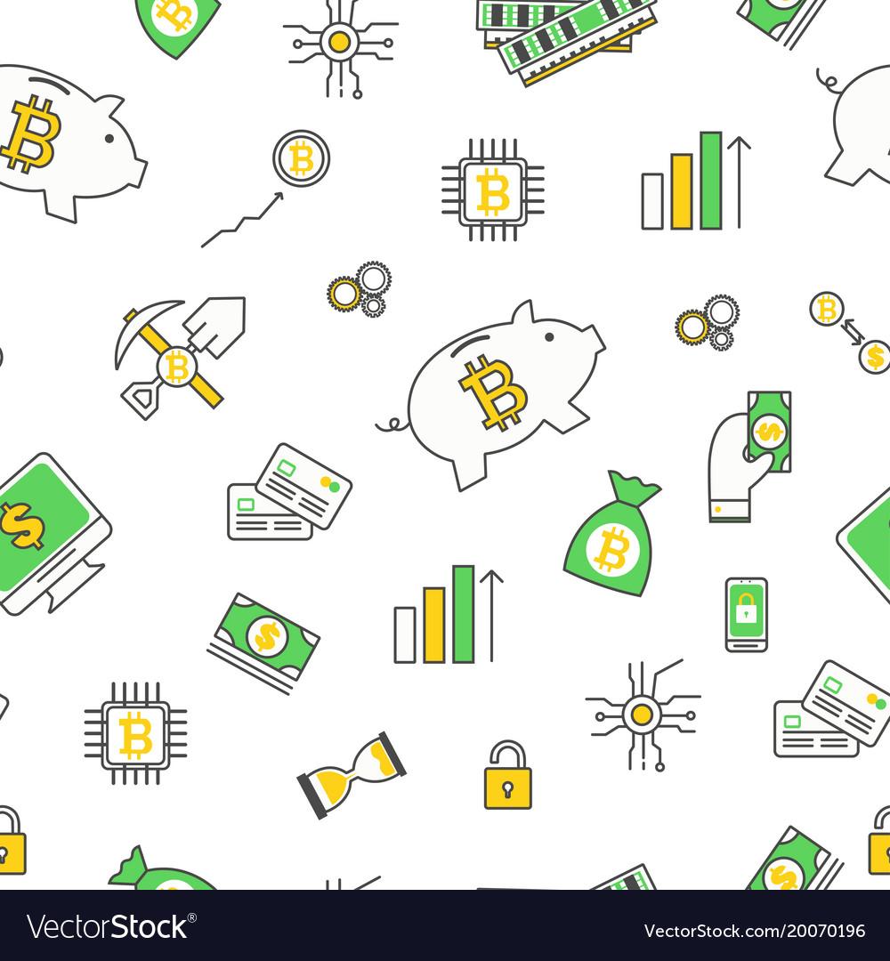 Bitcoin seamless pattern modern thin line vector image