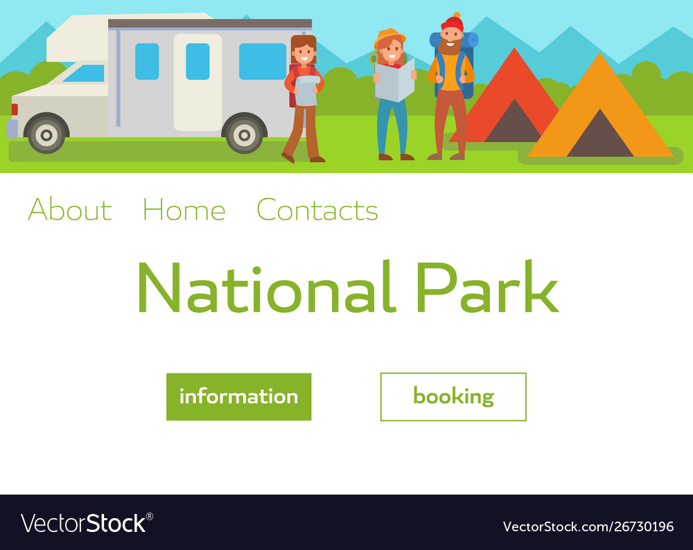 Camping park landscape with