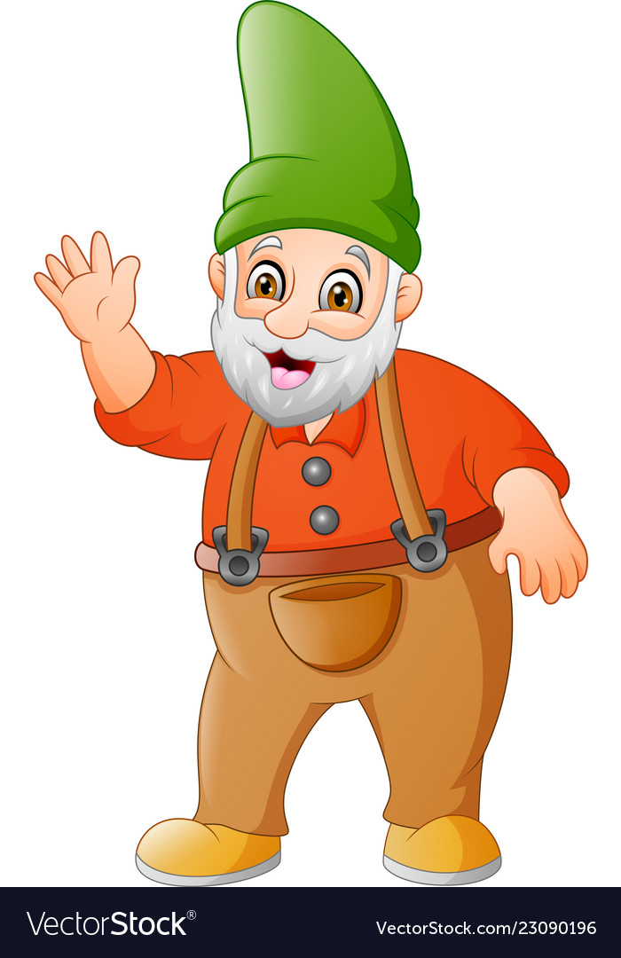 Cartoon garden gnome waving