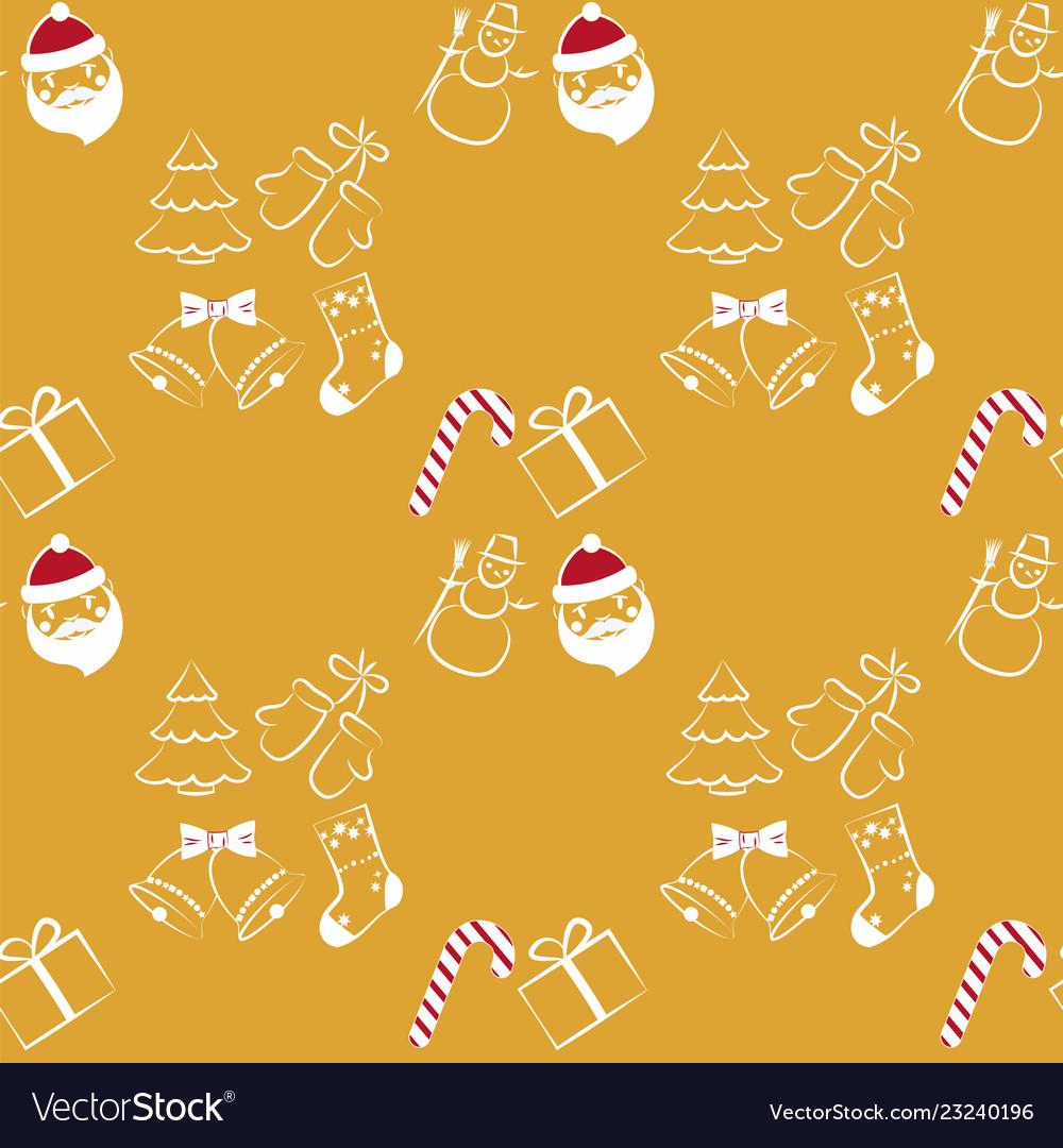 Christmas seamless pattern on yellow background