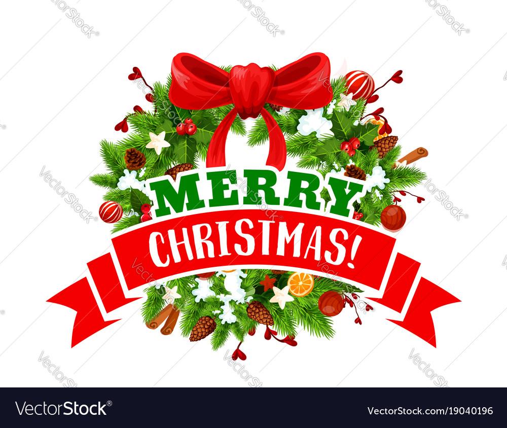 Christmas Tree Bow.Christmas Tree Wreath With Bow Icon Of Xmas Design