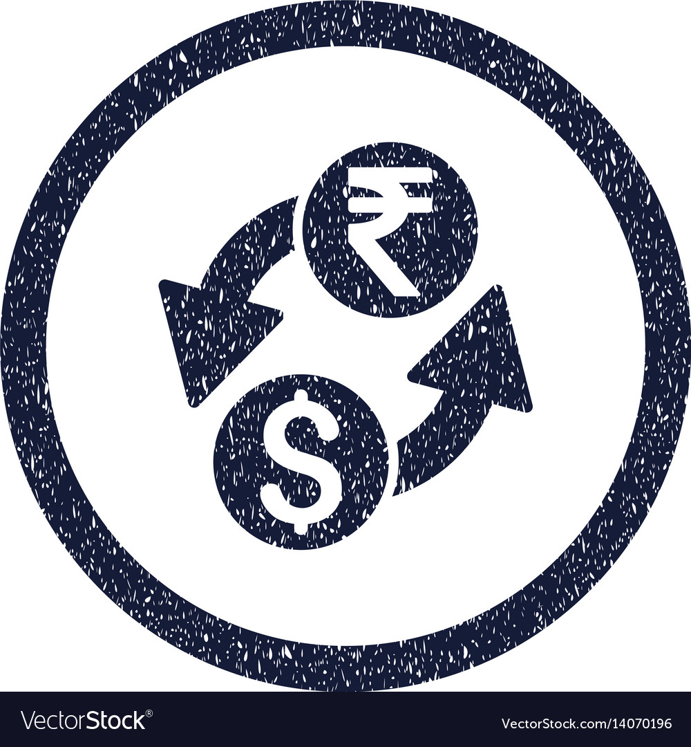 Dollar rupee exchange rounded grainy icon vector image