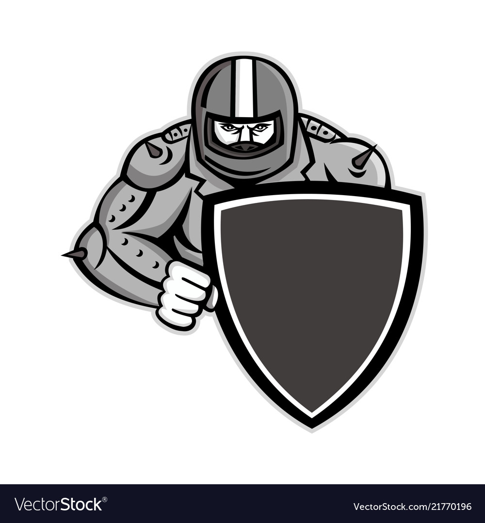 Motorcycle biker with shield mascot