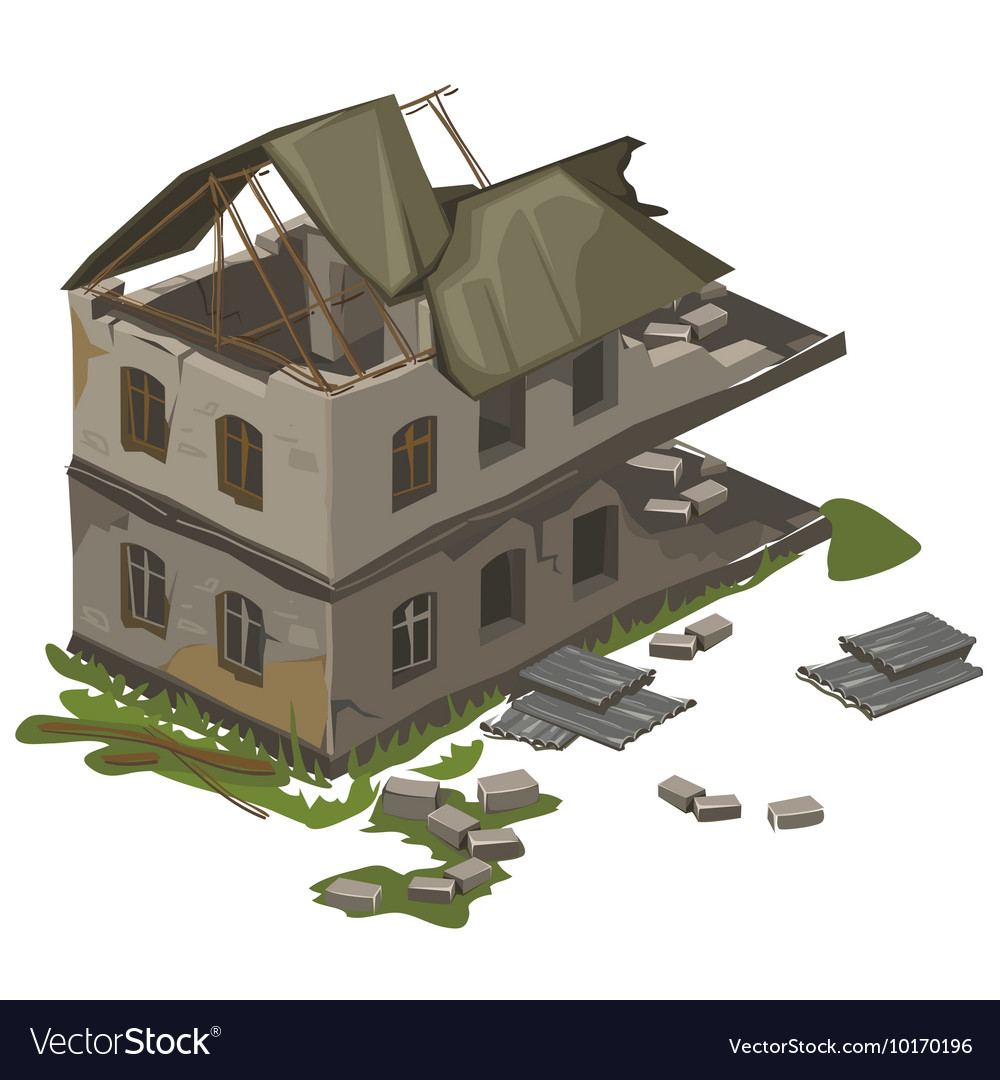 One two-storey destroyed building isolated vector image