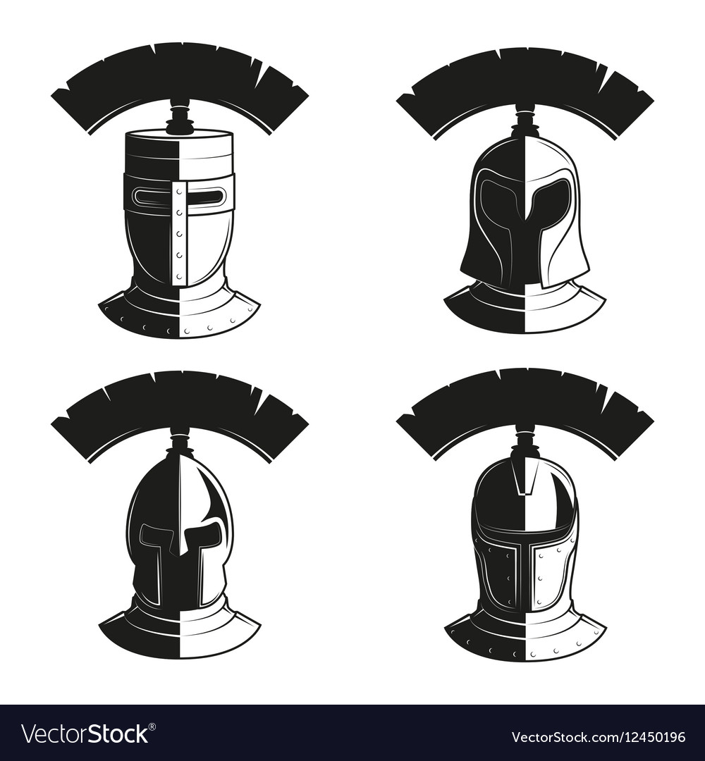 Set of icons of ancient helmets