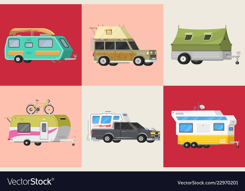 A set of trailers or family rv camping caravan
