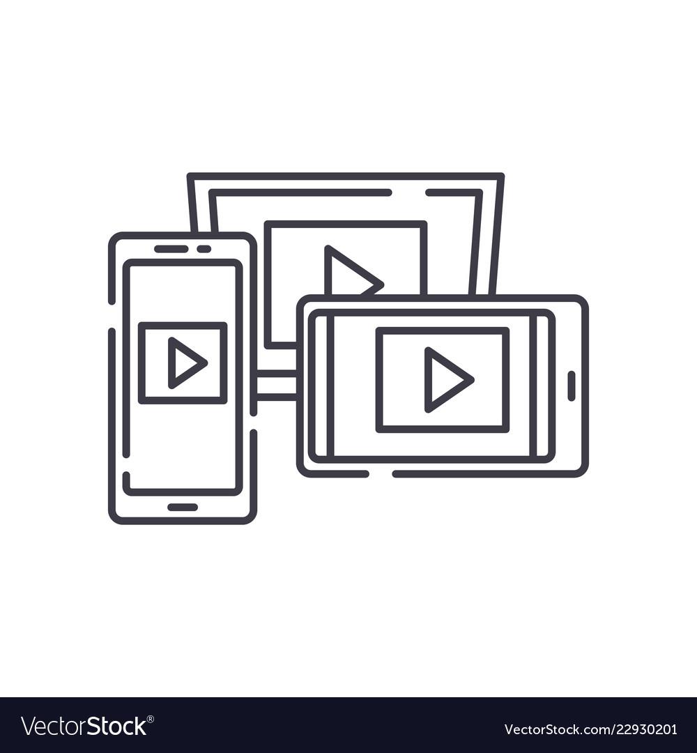 Adaptive video design line icon concept adaptive