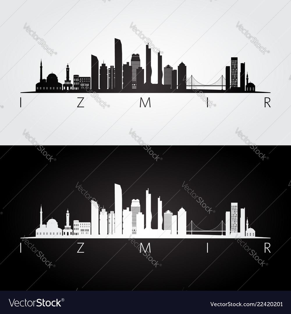 Izmir Skyline And Landmarks Silhouette Royalty Free Vector