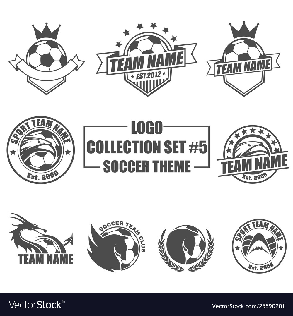 Logo collection set with soccer theme