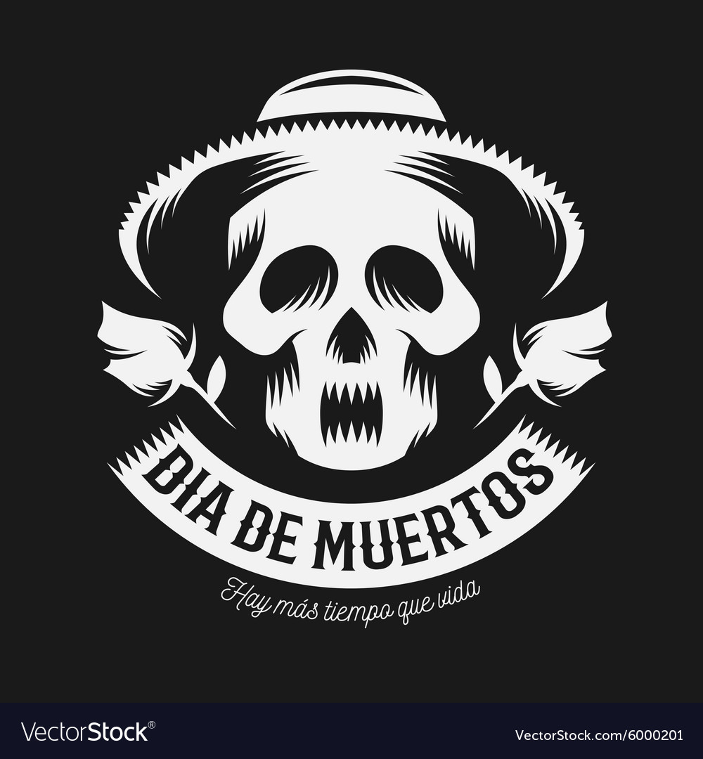 Mexican day dead monochrome vector