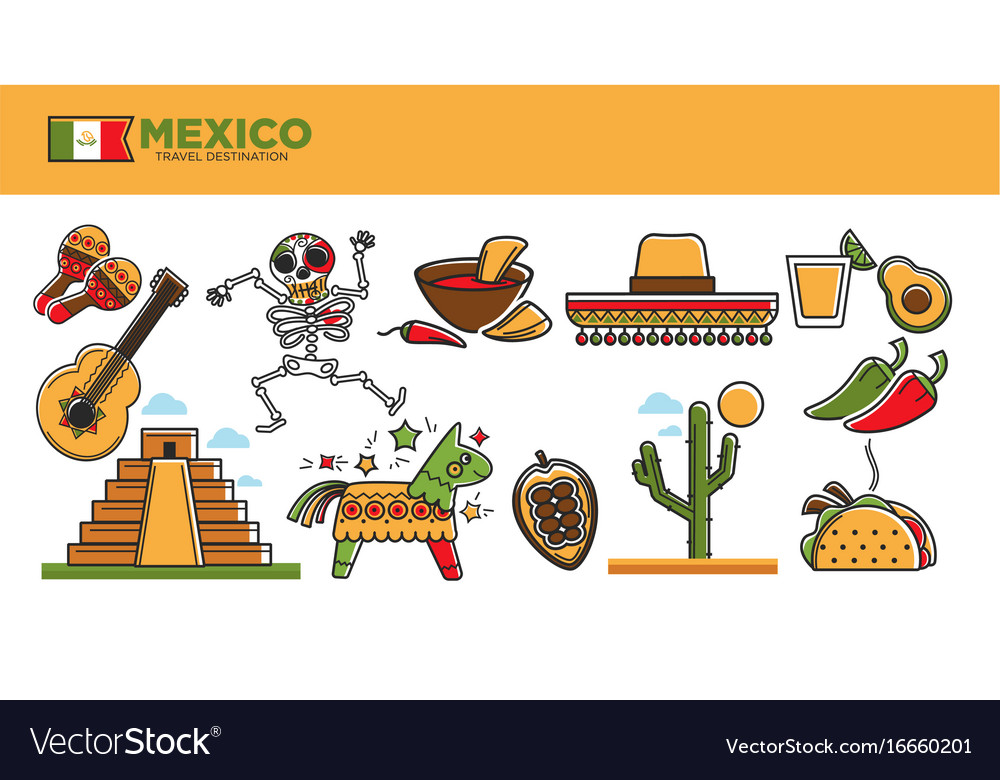 Mexico travel tourism famous landmarks and tourist vector image