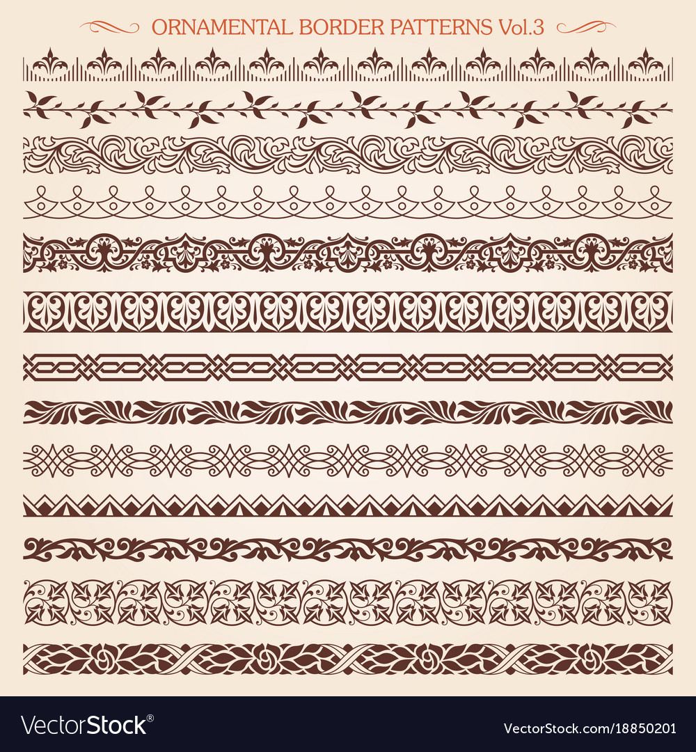 Ornamental border frame line vintage patterns 3 vector image