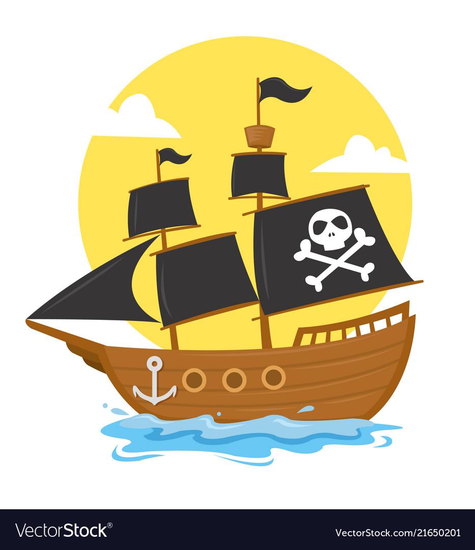 Pirate ship with black skull cross flag