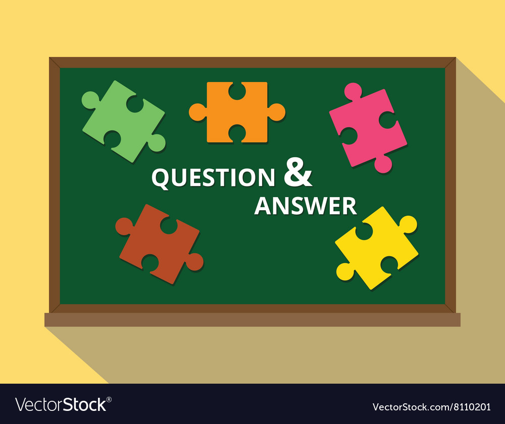 Question and answer in green board puzzle concept