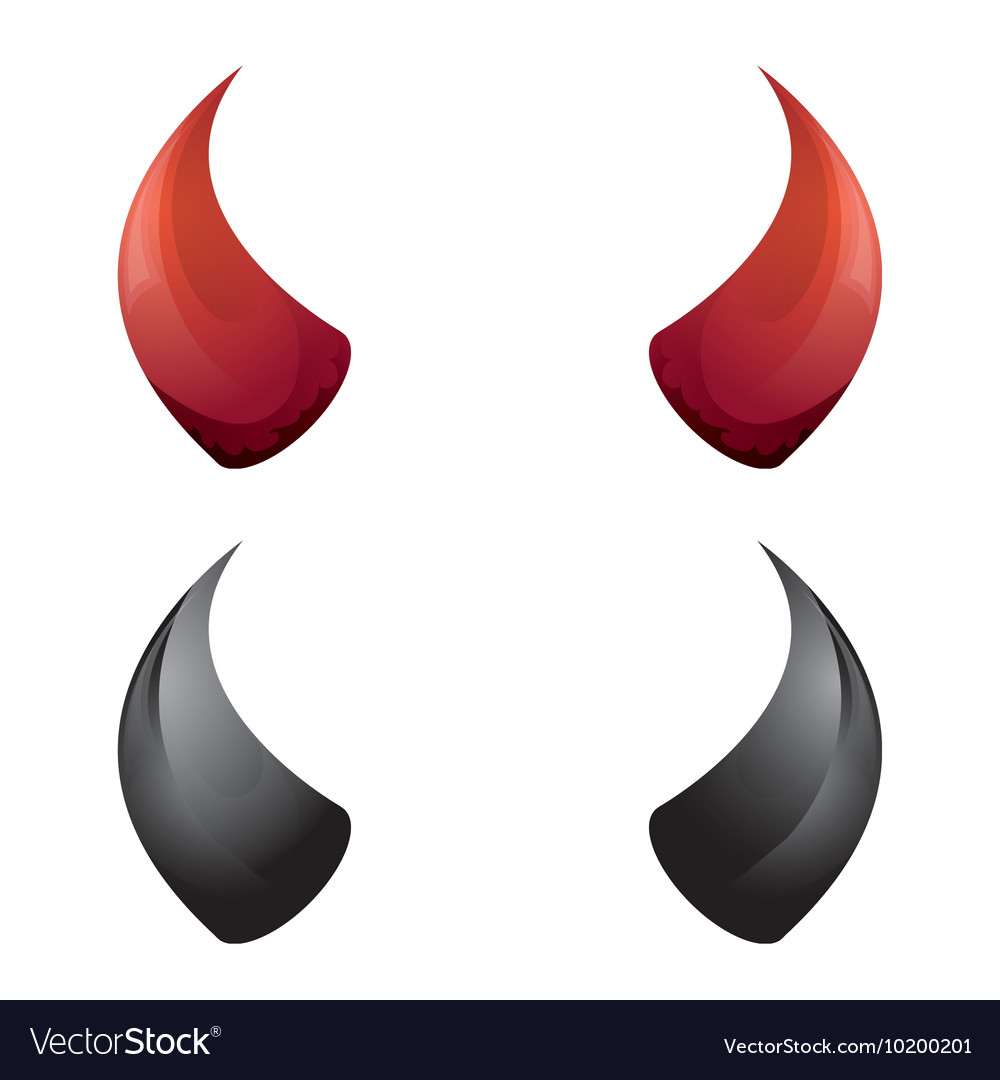 Red and black devil horns isolated Royalty Free Vector Image