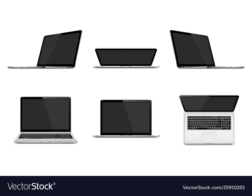 Set modern laptop with blank screen isolated