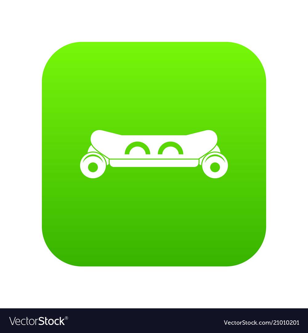 Skateboard deck icon digital green