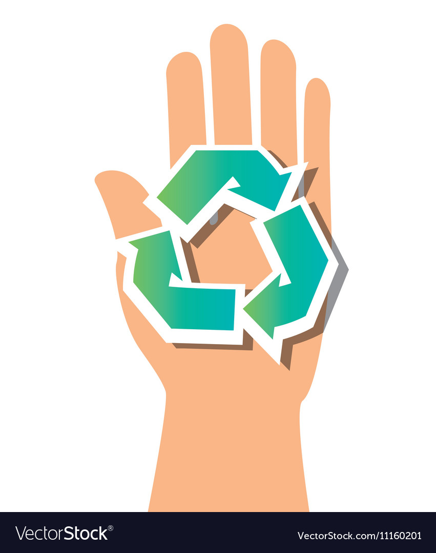 Symbol recycle and hand icon vector image