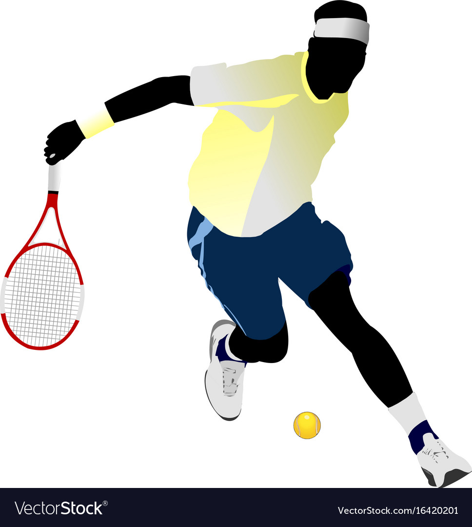 Tennis player colored for designers