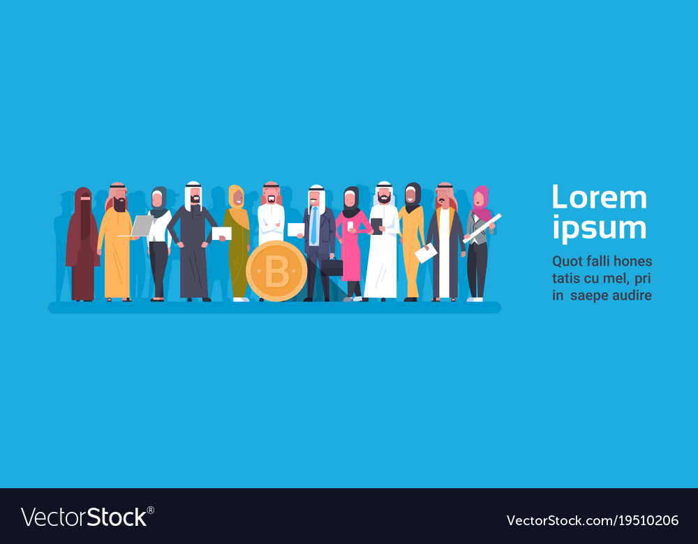 Bitcoin crypto currency group of arab people over vector image