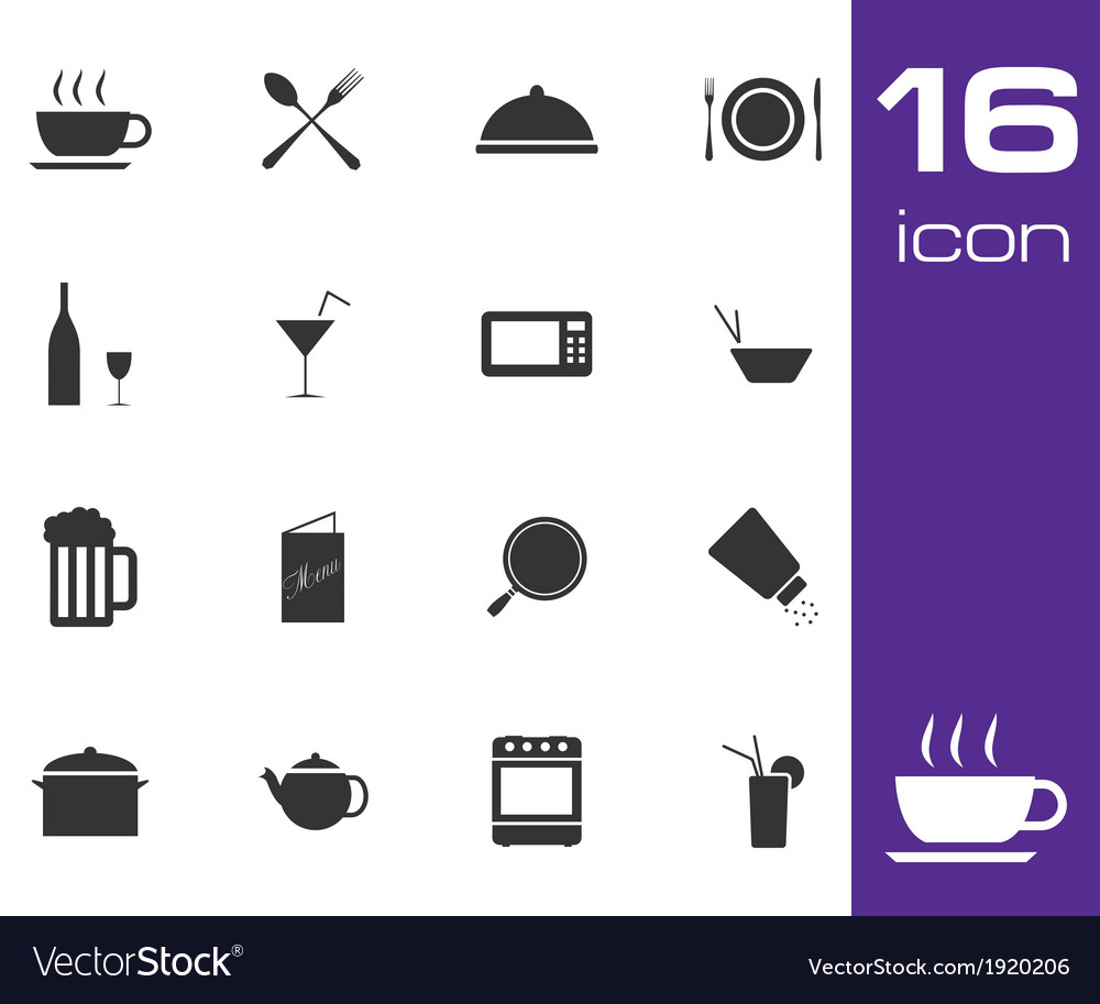 Black food icon set on white background