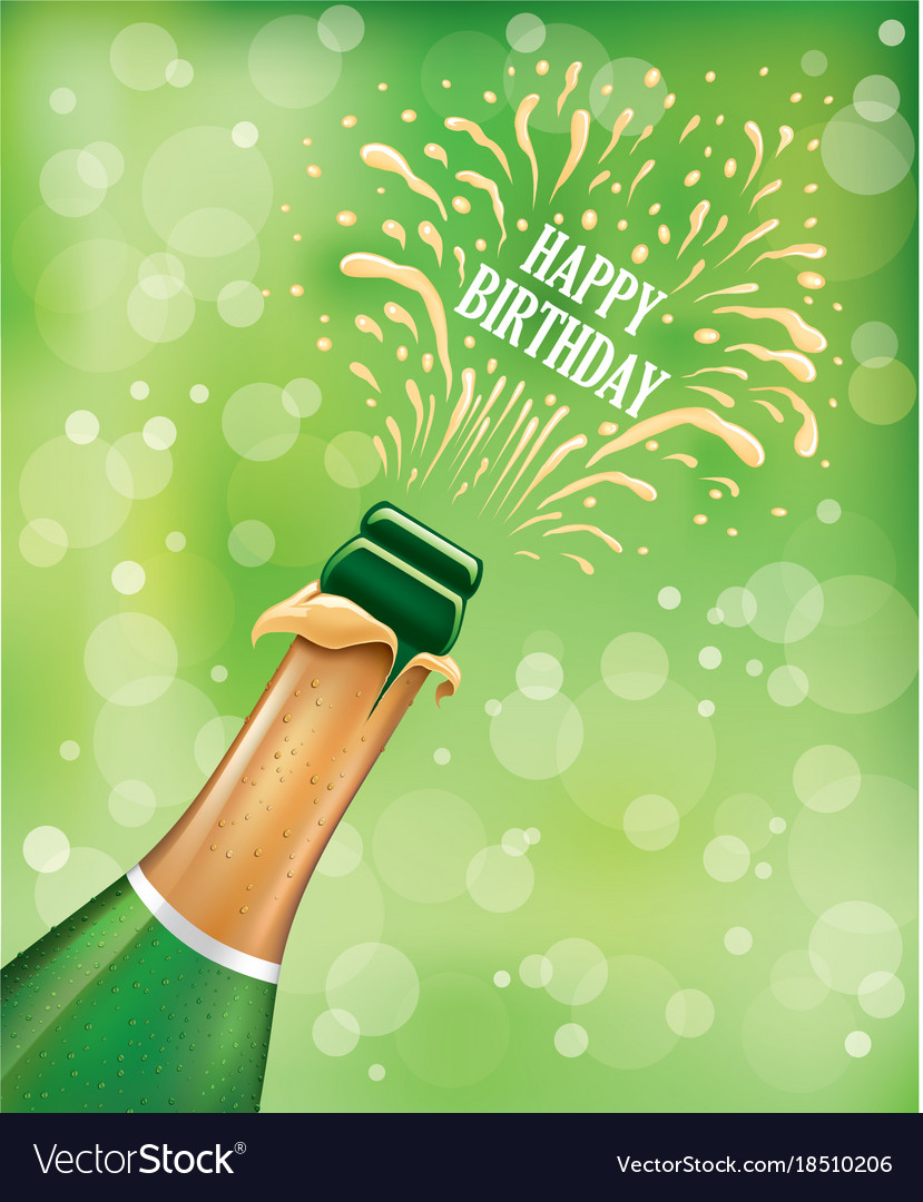 Champagne bottle popping explosion on birthday