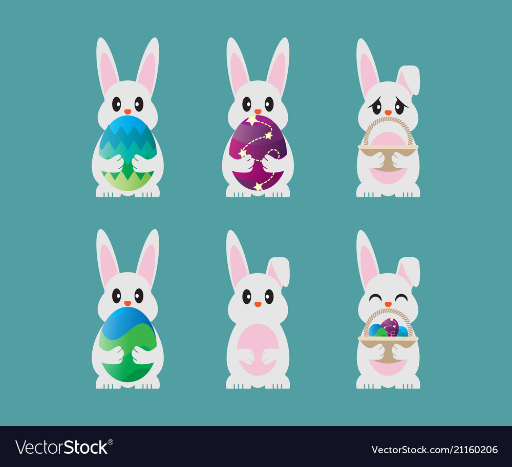 Collection of easter bunny template design